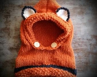 Fox Hoodie, Fox Hood, Fox Cowl, Knit Fox Hoodie, Knit Fox Cowl, Knit Fox Hood, Baby Fox Hoodie, Knitted Baby, Baby Girl, Baby Boy
