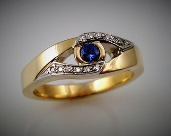 SAPPHIRE and DIAMONDS ring - Yellow and white gold
