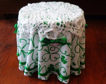 1/12 Scale (Dollhouse) Green & White Irish Lace Double Cloth Covered Table with Green Satin Ribbon Trim - Indoor Fairy Garden