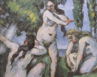 Paul Cezanne, Three Bathers, Mature Content, Color Plate of 1875 Oil on Canvas, Unframed Fine Art Book Page Print