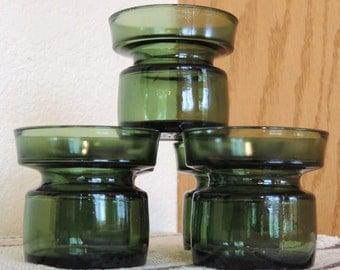 DANSK Denmark set of 5 Green Glass Candle Holders