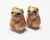 LOOSE Porcelain Beads - Orange Striped Cats (2 beads) - Por062