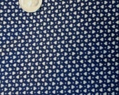 Sale Vintage Navy Blue and White Heart Print Fabric 1 yd  100% Cotton Fabric