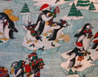 "Sale Holiday Angel Penguins on Icebergs 100% Cotton  1 yard x 43/44"""