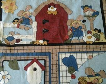 "Sale Primitive Garden Farm Bunny Rabbit Print Cotton Fabric   1 yd and 30"" x 44"""