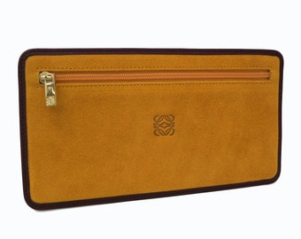 Vintage LOEWE Flat Pouch Suede Leather Yellow