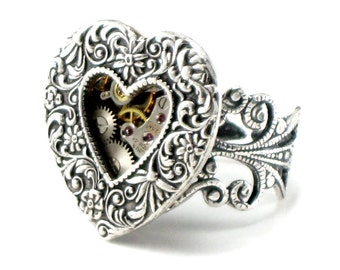SALE 50% OFF Steampunk Ring - Mechanical Heart with Gears and Exposed Watch Parts - Plated Antiqued Sterling Silver - by Ghostlove