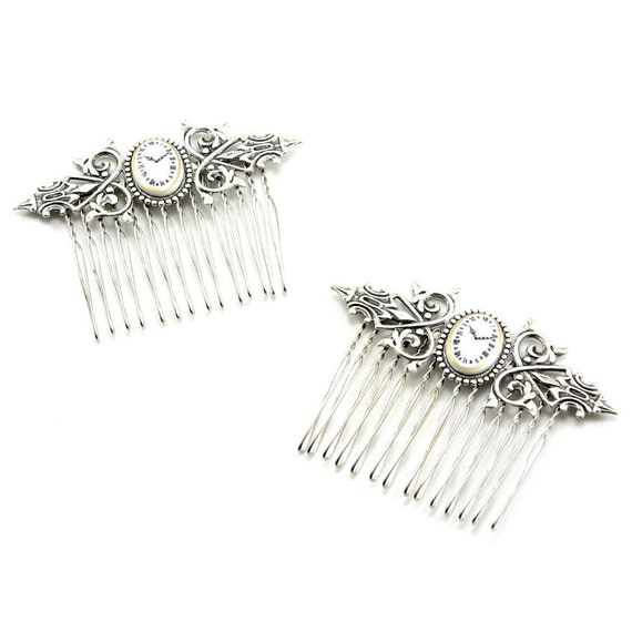 Gothic Lolita Hair Combs - Tick Tock Steampunk Hair Combs - Alice in Wonderland Inspired - w/ Vintage Clock Cameos - SET of 2 - By Ghostlove