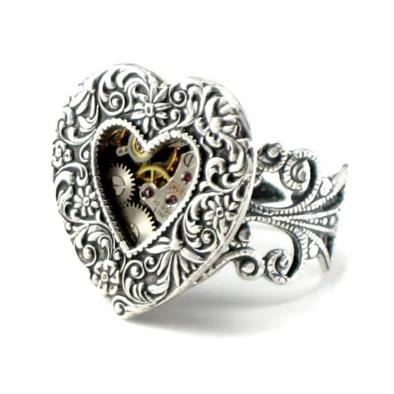 Steampunk Ring - Gothic Lolita Ring - Heart Gears - With Exposed Watch Gears - Plated Antiqued Sterling Silver - by Ghostlove