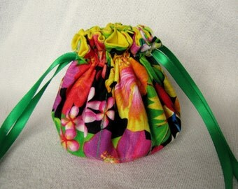 Drawstring Jewelry Tote - Medium Size - Fabric Drawstring Pouch - Jewelry Bag - EXOTICA