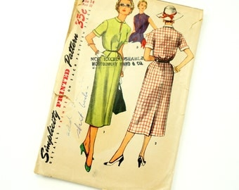 Vintage 1950s Simplicity Pattern 4636 / 50s Womens Size 14 One-Piece Dress with Detachable Collar and Cuffs / bust 32 waist 26 / Complete