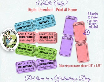 Valentines Day Romance Love Tickets Coupons Printable Digital Download DIY Tag Images Collage Sheet