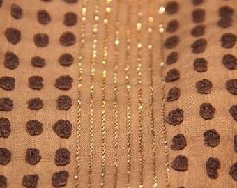 Morgan Jones Brown Pops with Gold Lurex Vintage Chenille Bedspread Fabric 12 x 24 Inches