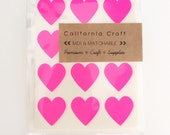 Neon Pink Heart Stickers - 36 - mini heart stickers