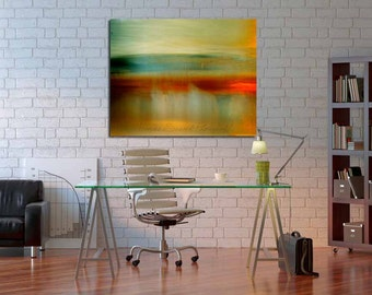 surreal photograph nature painterly contemporary modern texture abstract landscape red teal green yellow huge canvas giclee minimalist art