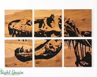 Dinosaur Fossil Screen Print - Large T-Rex Original Painting on Wood Panels