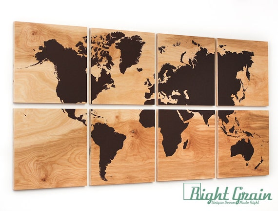 Large World Map Wall Art On Natural Birch Wood Grain By