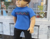 """Blue Tee with Black Slacks Outfit for 18"""" Boy Doll"""