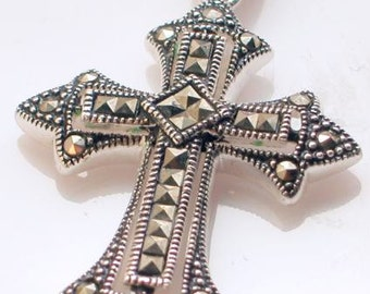 Sterling - Stunning, Classic Marcasite Cross - Italy 926