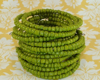 6 Opaque Olivine Beaded Bangle Bracelets Stretch Memory Wire Bead Bracelet Set Stocking Stuffer Party Favor Bridesmaid Gift Valentine's Day
