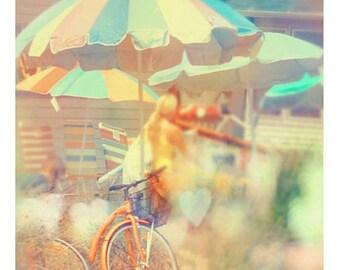 Beach Photography, Seaside Town, Summer Home Decor, Dreamy Colors, Pastel, Orange, Bicycle Photo, Fine Art Print, Wall Art