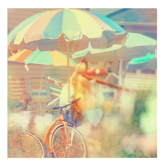 Beach Photography, Seaside Town, Summer Home Decor, Dreamy Colors, Pastel, Orange, Bicycle Photo, Fine Art Print, Wall Art