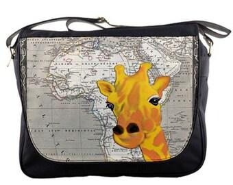 Africa Vintage Map Giraffe Messenger Bag, Laptop Bag, Diaper Bag ...