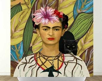 Frida Kahlo and Black Cat Shower Curtain
