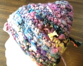 SHOP SALE. Merino women's hat. Handdyed, handspun freeform crochet ooak hat. Soft, thin, warm, and stretchy.
