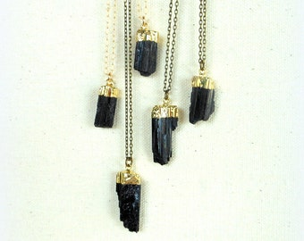 Tourmaline necklace gold dipped raw black tourmaline necklace gold filled necklace mineral specimen raw crystal