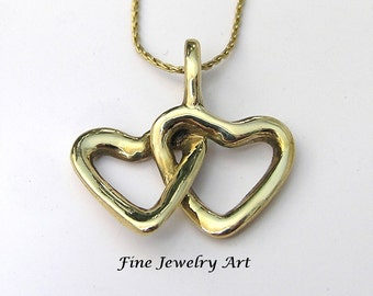 Joyful Intertwined Open Two Heart Pendant Necklace 14k Solid Gold - Smooth & High Polished Unique Timeless Design Original Wax Cast by EVB