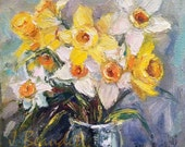 Print of Original Painting Modern Impressionist Floral Daffodil Spring flowers Yellow Large 24 x 24 inch