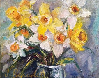 Print of Original Painting Modern Impressionist Floral Daffodil Spring flowers Yellow 16x16 inch