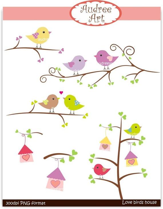 birds clip art,Clipart, valentine, love birds on branches, bird on the branch, instant download clip art
