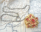 spring bouquet necklace assemblage upcycle pin romantic shabby chic