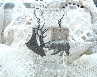 wintertime bear earrings assemblage deer mismatch elk watch dial stag winter upcycled jewelry