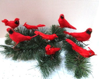 Lot of 8 Vintage Spun Cotton Red Cardinal Birds, Winter Wedding Decoration, Craft Supply, 3 Sets Available, Feed the Birds