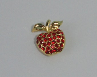 Vintage gold tone and Red Rhinestones Apple Brooch, Pin