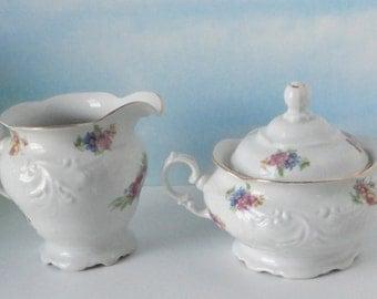 Walbrzych Porcelain Floral Sugar and Creamer set.