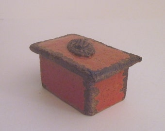 Small Stoneware Pumpkin Glaze Lidded Box