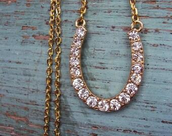Horseshoe Pendant Necklace Good luck Rhinestone Everyday Jewelry