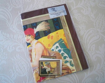 Vintage Gift Wrapping Paper Unopened Package 1920's Lady Design Made in Italy