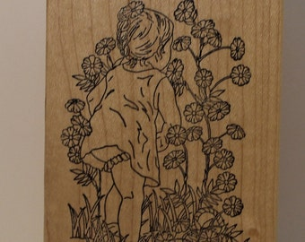 Little Girl in Dress smelling the flowers Rubber Stamp