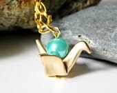 Gold Paper Crane Origami Necklace with Seafoam Pearl