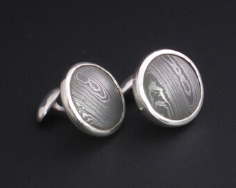 Stainless Steel Damascus with recycled .925 Cuff Links