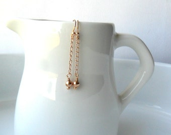 Tiny Rose Gold Earrings Long Chain Dangle Earrings Minimalist / Trendy Earrings / Modern everyday earrings / Bridesmaid gift / Under 25