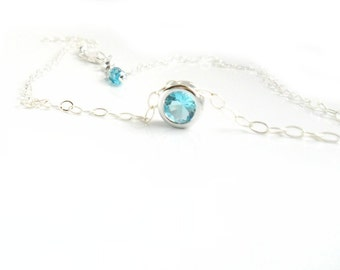 Aquamarine Silver Necklace  Sterling Silver chain  Solitaire Something Blue  Everyday Dainty Simple Jewelry  Layering Necklace / Bridal Gift