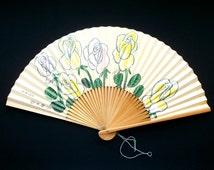 Vintage Paper Fan - Japanese Sensu - Japanese Fan - Japanese Paper Fan - Floral Fan - F117 Rose Fan