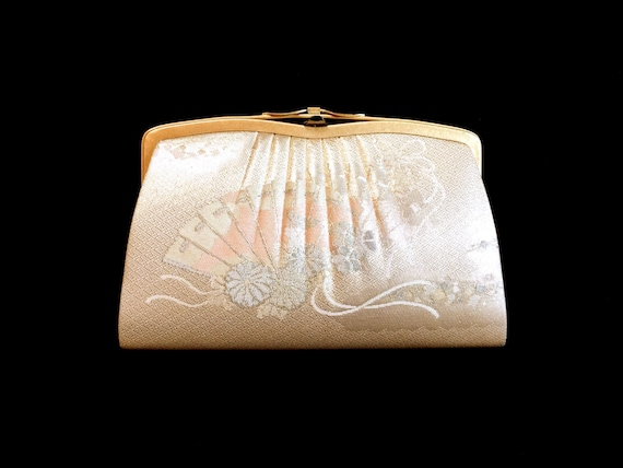 Vintage Japanese Kimono  Clutch - Vintage Clutch - Bridal Clutch - Soft Pink And Cream Clutch - Gold Clutch - Bridal Purse - Japanese Clutch