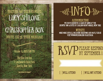 Printable Wedding Invitation Set - Invite, RSVP Card, Info Card - Woods